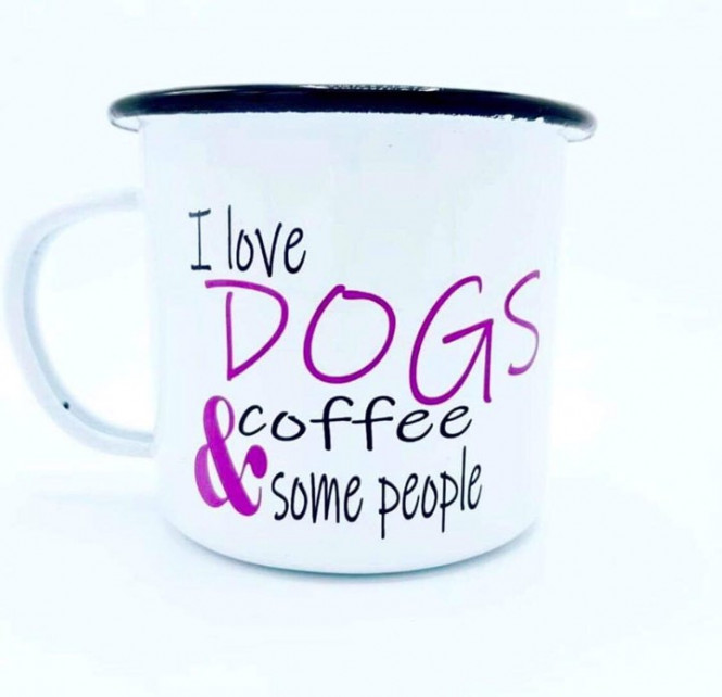 Emaljmugg I Love Dogs, Coffe and some People