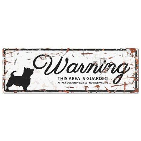 Warning Liggande Skylt Vit Cairn Terrier