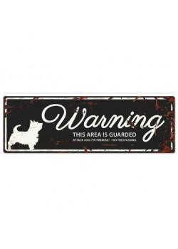 Warning Liggande Skylt Svart CairnTerrier