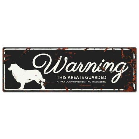 Warning Liggande Skylt Svart Bordercollie