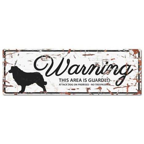 Warning Liggande Skylt Vit Bordercollie