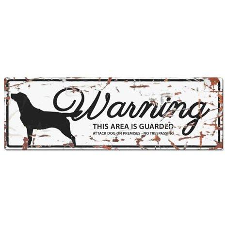 Warning Liggande Skylt Vit Retriver