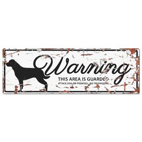Warning Liggande Skylt Vit rottweiler